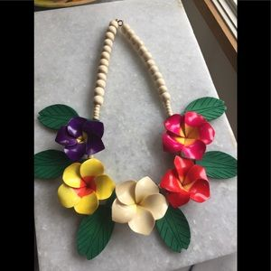 Vintage Wooden Flower Painted Necklace